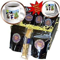 SmudgeArt All Things Christmas Designs - Snowmen With Instruments - Coffee Gift Baskets - Coffee Gift Basket