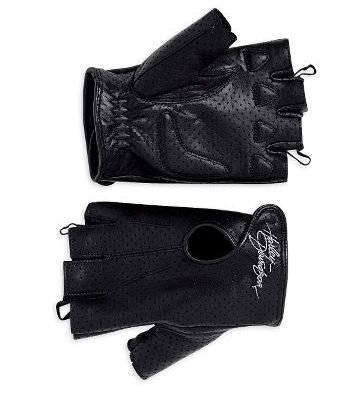 Harley-Davidson? Women's Perforated Fingerless Gloves. Embroidered Harley-Davidson? on hook-and-loop touch fastener. 98347-09VW