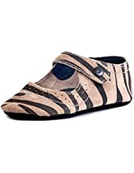 Beanz Catty Beige/Black Tiger Print Leather Pram Shoes For Girls Size 18 EU