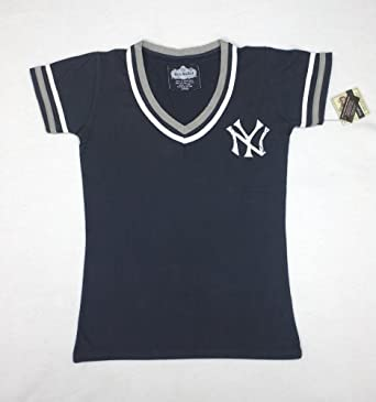 MLB Ladies New York Yankees Retro Design Deep V-Neck T-Shirt By Red Jacket by Red Jacket