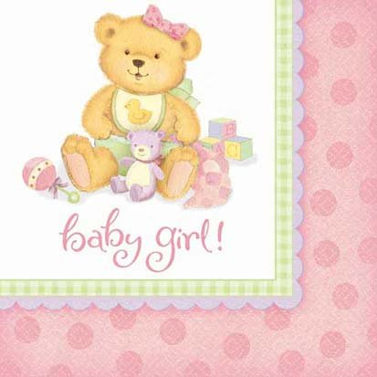 Precious Bear Pink Lunch Napkins 16ct