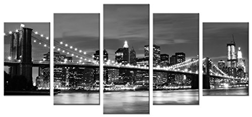 Wieco Art – Broooklyn Bridge Night View 5 Panels Modern Landscape Artwork Canvas Prints Abstract Pictures Sensation to Photo Paintings on Canvas Wall Art for Home Decorations Wall Decor