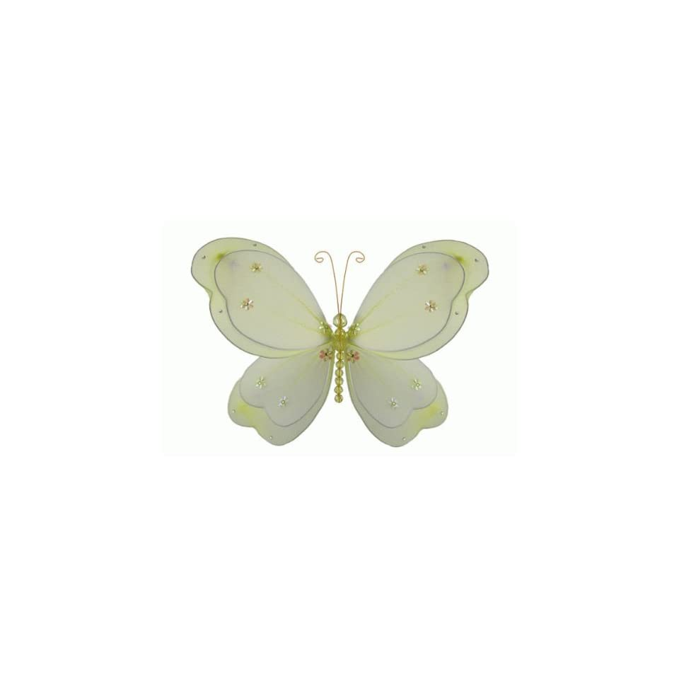 The Butterfly Grove Chloe Butterfly Decoration 3D Hanging Mesh Nylon Layered Decor, Yellow Daffodil, Small, 5 x 4