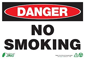 "Zing Eco Safety Sign, Header ""DANGER"", Legend ""NO SMOKING"", 14"" Width x 10"" length, Recycled Plastic, Black/Red/White (Pack of 1)"