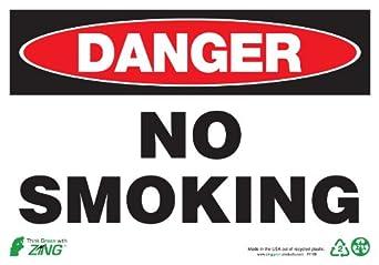 Sign, Danger No Smoking, 10x14, Plastic