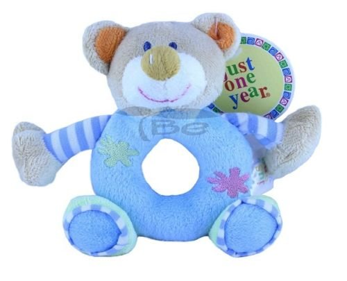 Lovely Kids Baby Animal Model Catoon Hand Bell Plush Toys Doll Soft Cutie Rattle Toys (Blue Bear) front-964814