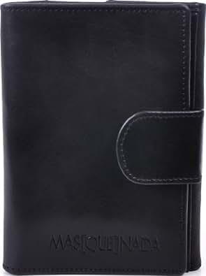 MASQUENADA, Damen Geldbörsen, Damen Portemonnaies, Clip-Börsen, Damen Maxi-Börsen, Damen Brieftaschen, Echt Leder, Schwarz, 13,5x9,5x2cm (B x H x T)