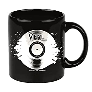 Gifts for music lovers dj cup vinyl record mug in black Gifts for kitchen lovers