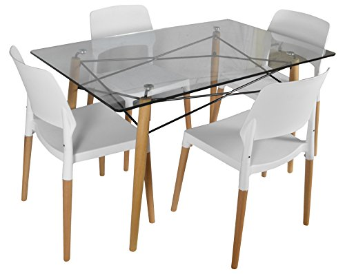 FABERGE Contemporary 4 Seater Dining Room Sets (White)