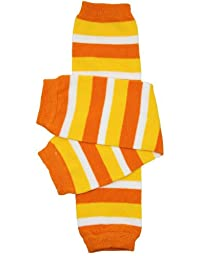 Halloween baby & toddler Leg Warmers for Girls & Boys in various styles (One Size (12 pounds to 10 years), Candy Corn)