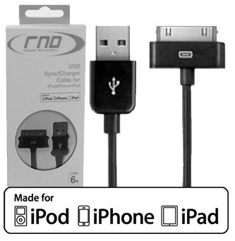 RND Power Solutions black long sync & charge (6ft) cable made for Apple (iPad / iPhone / iPod). Our cable is APPROVED by Apple, is Bumper and Case compatible, and meets/exceeds Apple's high manufacturing/quality standards and is in Retail Packaging.