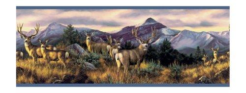 York Wallcoverings Lake Forest Lodge WG0354BD Mule Deer Border, Multi/Bright Blue Band