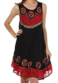 Sakkas Batik Peace Caftan Tank Dress / Cover Up