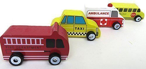 Easter gift for children's, Ambulance, Fire Department, Taxi, School Bus, toy car for Lover's Kids Gift, Set of Four