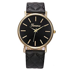 GOHUOS Men's Geneva Women's Casual Business Style Buckle Clasp Quartz Wrist Watches PU Leather Band Black