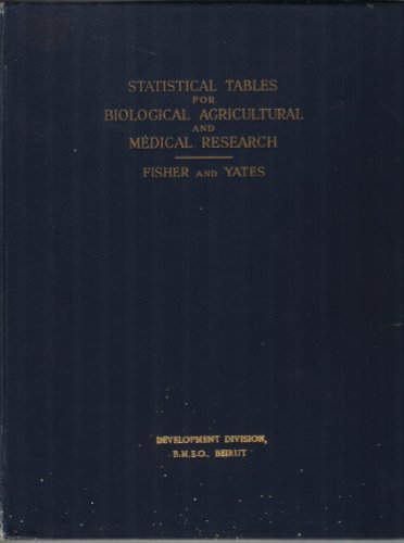 Statistical Tables for Biological, Agricultural and Medical Research, Sixth Edition