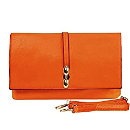 BMC Fashionably Chic Neon Tangerine Faux Leather Large Envelope Style Fashion Accessory Statement Clutch