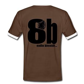 Spreadshirt, 8b, Tee shirt contraste Homme, marron/blanc, L