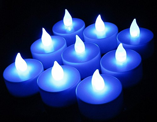 12 Pcs Flickering Battery-Powered Flameless Led Tealight Candles (Blue)