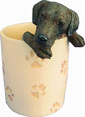 Chocolate Lab Pencil Cup Holder with Realistic Hand Painted Chocolate Lab Face and Paws Hanging Over Cup, Uniquely Designed Chocolate Lab Gifts, A Convenient Organizer for Home or Office, One Of A Kind Pen Holder