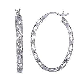 Vir Jewels Sterling Silver Hoop Earrings Filigree Style (1.1 Inch)