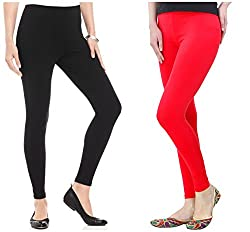 FashGlam Women Premium Ankle Length Leggings - Combo - Black,Red