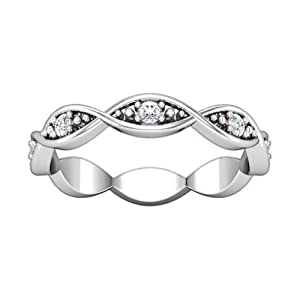 0.80 ct Ladies Round Cut Diamond Eternity Band Ring in 14 kt White Gold In Size 4.5