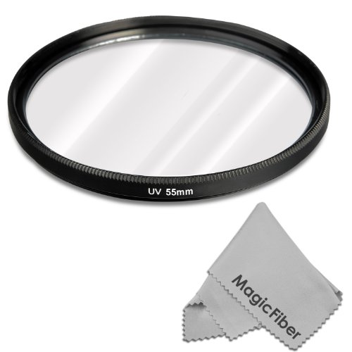 55Mm Uv Ultraviolet Lens Protection Filter For Sony Alpha Series A99 A77 A58 A57 A65 A55 A390 A100 Dslr Cameras With A 18-55Mm Zoom Lens + Premium Magicfiber Microfiber Cleaning Cloth