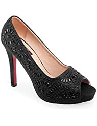 SHUZ TOUCH BLACK PUMPS & PEEP TOES (Size-39)