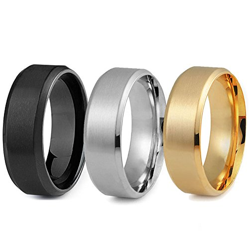 Jstyle Stainless Steel Rings for Men Wedding Ring Cool Simple Band 8 MM 3 Pcs A Set (9.5)