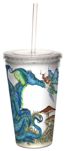 Tree-Free Greetings cc33583 Fantasy Close Encounter Dragon and Fairy Double Walled Cool Cup with Reusable Straw by Amy Brown, 16-Ounce