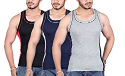 White Moon 999 Gym Vest - Pack of 3 (Black_Blue_Gray_80)
