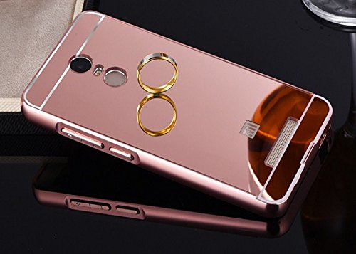 Mobiccessories Luxury Metal Bumper Acrylic Mirror Back Cover Case For Xiaomi Redmi Note 3 - Rose Gold