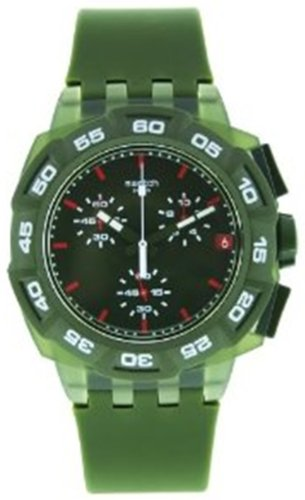 Swatch Men's Originals SUIG401 Green Rubber Swiss Quartz Watch with Green Dial