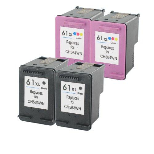 Remanufactured Hp 61Xl High Capacity Inkjet Cartridges For Hp Deskjet 1000, 1050, 1051, 1055, 1056, 2000, 2000C, 2050, 2510, 2511, 2512, 2514, 3000, 3050, 3051A, 3052A, 3054, 3056A, 3510, 3511, 3512 (2 Black, 2 Color)