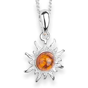 InCollections Damen-Halskette Sonne 925 Sterling Silber 1 Bernstein gelb 42 cm 241A200010890