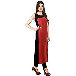 Cartyshop redblack georgette tunic tops kurti for women (XL_Size)