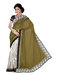 De Marca Off White And Green Art Silk Designer G-345 Saree
