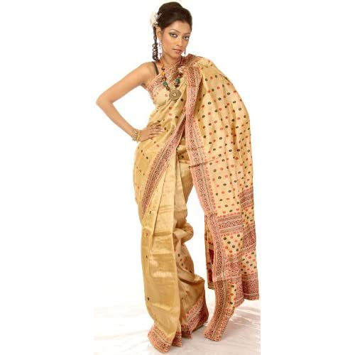 Exotic India Buff Hand-Woven Moonga Silk Sari from Assam with Red and