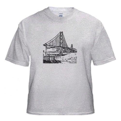 Golden Gate Bridge San Francisco Line Art - Adult Birch-Gray-T-Shirt Medium