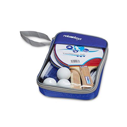 Relaxdays 10020137 Tischtennis-Set 3 Sterne mit Tischtennischläger Netz & Tischtennisball in Transporttasche HBT: ca. 27 x 17 x 5 cm Tischtennisset Ping Pong Spiel TT-Set Tischtennis Spiel, blau