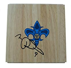 Morris Peterson Autographed New Orleans Hornets Logo Floor, Proof Photo