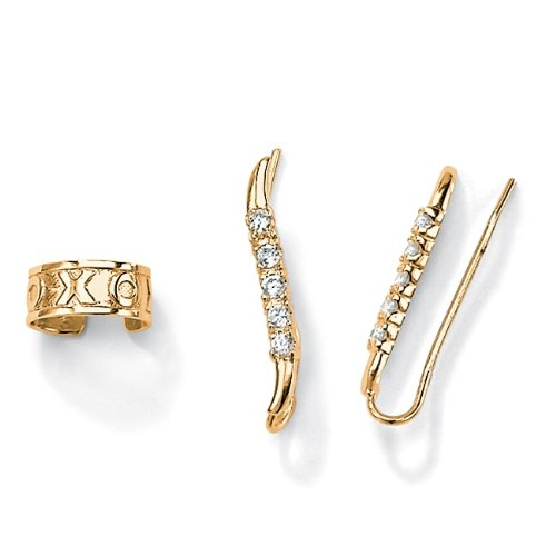 18k Gold over Sterling Silver DiamonUltraTM Cubic Zirconia Ear Pins/