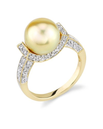 10mm Golden South Sea Pearl & Diamond Sparkling Jewel Ring in 18K Gold