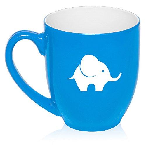 16 Oz Light Blue Large Bistro Mug Ceramic Coffee Tea Glass Cup Baby Elephant