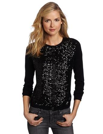 Jones New York Women's Petite Long Sleeve Sequin Cardigan Sweater, Black Multi, Petite
