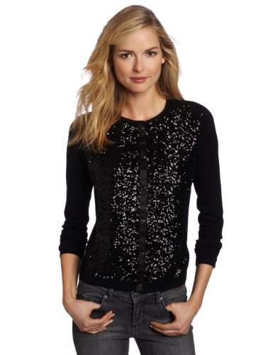 Jones New York Women's Long Sleeve Sequin Cardigan Sweater