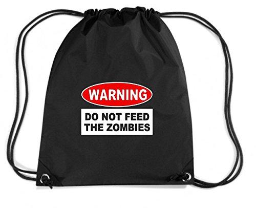 T-Shirtshock - Zaino Zainetto Budget Gymsac TZOM0049 warning do not feed the zombies, Taglia Capacita 11 litri