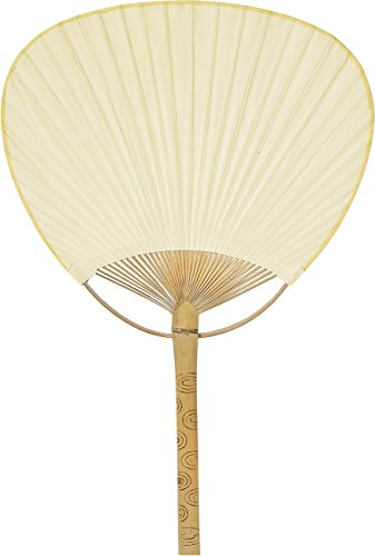 Luna Bazaar Hand-Held Paper Paddle Fan (14.5-Inch, Ivory) - For Personal Use, Weddings, and Events