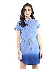Yepme Shirt Style Dress - Blue -- YPMDRES0262_L